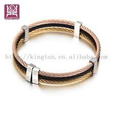Kington three color stainless steel charm bracelet&bangle