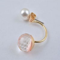 E2719-01Pink Chic Crystal Fashion Women's Gold Plated Pearl Type Ear Stud Earrings Gift