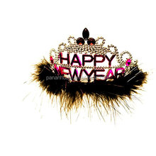 2015 Factory Price Free Sample Happy New Year Jewel and Feather Tiara New Year's Eve
