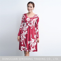 2015 hot sale sexy women round neck printed sweater dress of family clothing