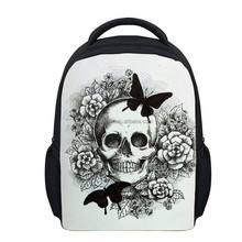 Factory skull sublimation printed primary 3D school bag of satchel backpack