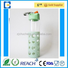 550ml Hand-Made Travel bottle Sport drink water bottle Glass water bottle with silicone sleeve