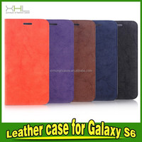 wallet card holder Leather Case For Samsung Galaxy S6, leather mobile phone cases, genuine leather phone case