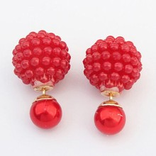 Bijoux Fashion 2015 New Hot Selling 5 Colors Big Size Double Pearl Earrings For Women