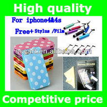 Hot Sell point Deluxe POLKA DOTS TPU Hard Case Cover Skin for iPhone 4&4S + Stylus /Film Screen protector touch pen