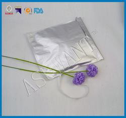 heat seal silver aluminium foil envelope bag with adhesive tape