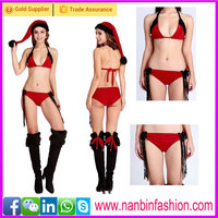 Hot sale three point sexy christams lingerie, sexy christmas bikini