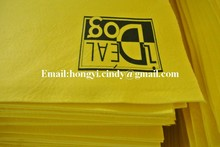 Logo printed viscose & polyester needle punched nonwoven fabric yellow super absorbent drying cloth for pets