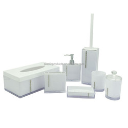 wholesale 7pcs square white hotle bathroom accessories