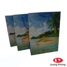 2015 New tropical style gift paper bag with handle colouring printing