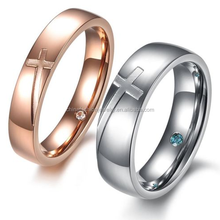2015 Hot Sale Promise Love Simple Fashion Design Crystal Drilling Stainless Steel Cross Couple Ring