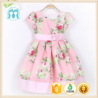wholesale kids kids fancy dress photos with Floral printed and band