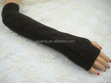 Machine wash and high quality 100% acrylic long fingerless mittens