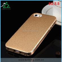 Mobile Phone Protective Case For iPhone 6 Plus Metal Bumper & TPU Leather Pattern Cover Case Back
