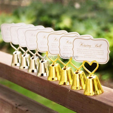 """""""KISSING BELL"""" Gold Heart Bell Wedding Place Card Holder and Party table card holder"""