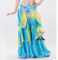 Gradual Change Color chiffon blue Long belly dance skirt for sale