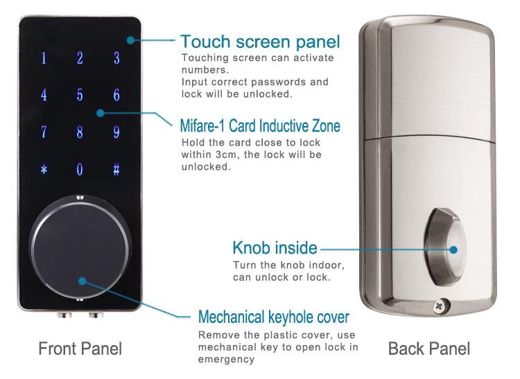 Onlense touch screen electronic door lock remote nfc for 1 touch door lock