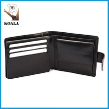 2015 best sell black genuine leather man wallet with flap