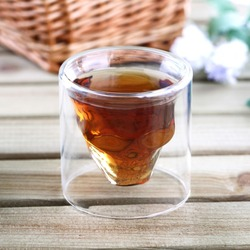 1 Pcs Crystal Skull Head Vodka SWhiskey Home Wine Beer Tea Glass Drinking Cup