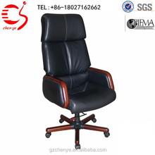 high back swivel leather chair wood base