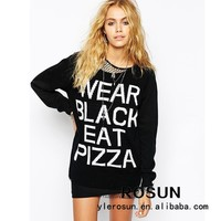 Winter women stylish style top letters printed sweater for wholesale cheap acrylic sweaters