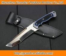 Fibra de carbono + g10 punho faca de caça facas de acampamento 61 hrc bainha de couro 4494