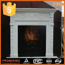 China high quality hand-craved natural stone decorating corner fireplace mantel