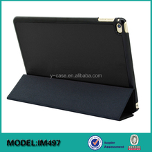 Ultra thin smart leather back cover case for iPad mini 4 ,Back PC with leather wrapped