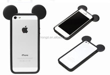 New Fashion 3D Mickey mouse ears silicon frame bumper for iPhone 4 4s 5 5S case soft Rubber lovely cartoon phone cases cover