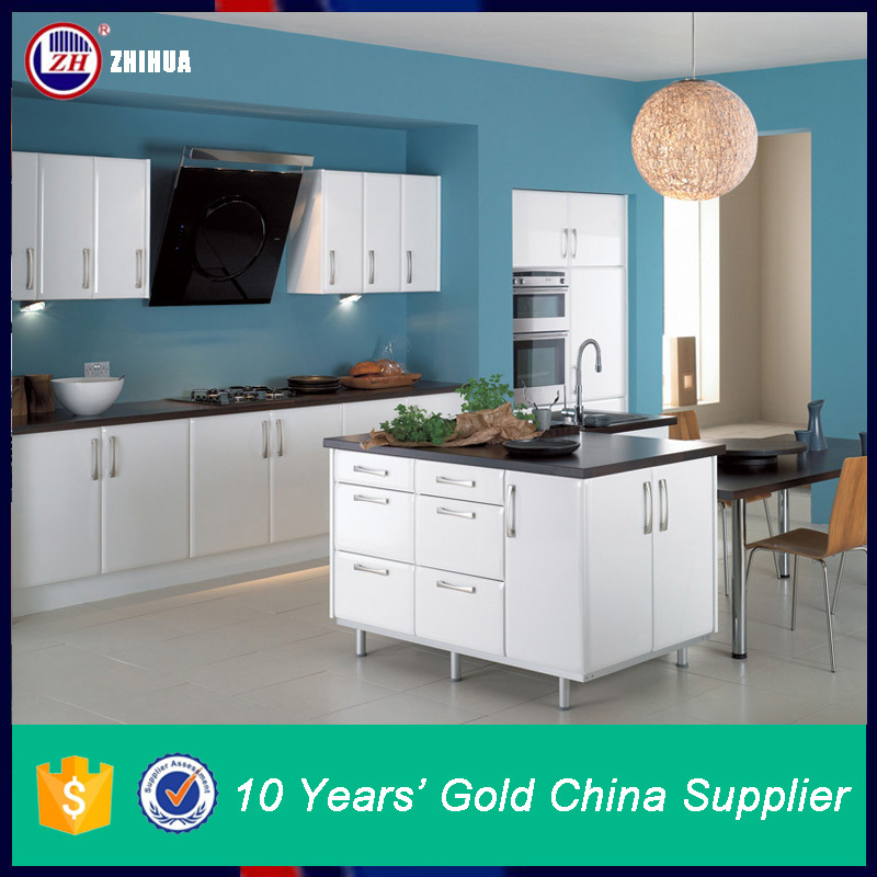 Zhuv White Pvc Display Kitchen Cabinets For Sale