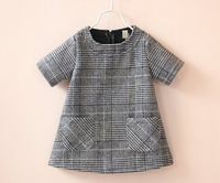 wool & cotton fabric plaid grey woven dress for girls