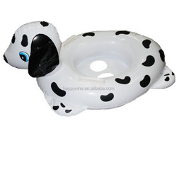 Promotional inflatable dog shaped swimming baby care seat with handle /dog shaped floating seat/swimming toy