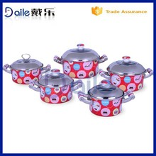 5pcs straight shape non-stick cookware sets/enamel pot with lid