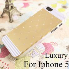 High Quality Luxury bling Cover For apple iphone5s iphone5 5g PC+Aluminuml Back Cover Case New Arrival,5 colors free shipping