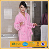 cheap pink custom made microfiber flannel fleece wonder women bathrobe