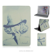 Print Fashion Girl Design PU Leather Flip Stand Tablet Covers Case For iPad Air 2 From Shenzhen Factory