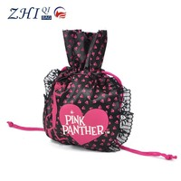 Cheap promotional ladies pretty travel satin drawstring toiletry bag with lace and heart shape print