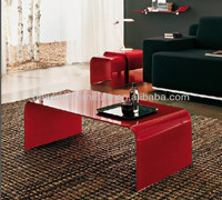 Newland modern bend glass black and red coffee table (TB-S116A)