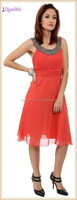 New Fashion Coral Beaded Front Neckline Pleated Bodice Sexy Shimmering Tea Length short formal cocktail dresses