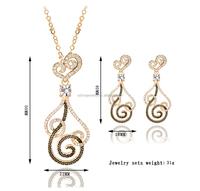 Fashion Swirl Flower Gold jewellery set, fashion jewelry set, light weight gold necklace set