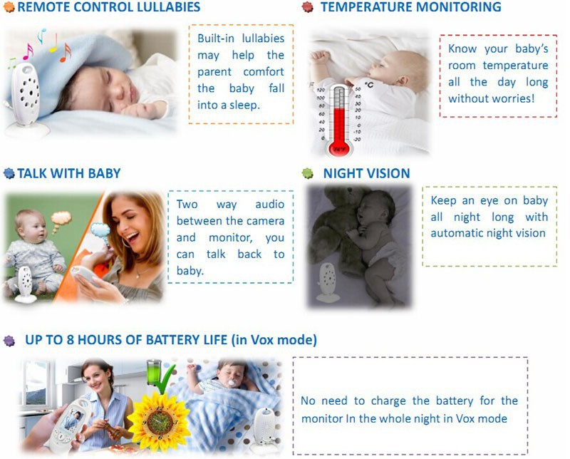 2.0 inch Color Video Wireless Baby Monitor Security Camera 2 Way Talk Nigh Vision IR LED Temperature Monitoring with 8 Lullabies