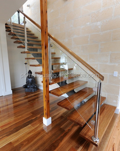 Diy floating stairs wood glass railing wood staircase for Diy wood stairs