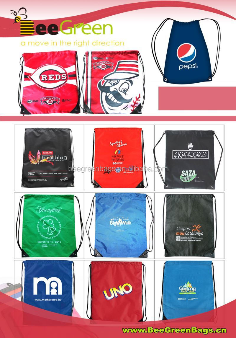 Direct Factory Manufacturer Promotional Nylon Drawstring Bag/Drawstring Backpack with reinforced PU corners