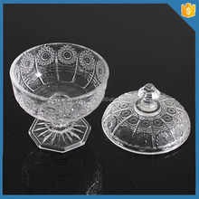 7/2015 new transparent crystal glass candy pot with lids and base