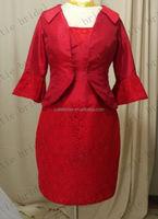 Red Satin Sheat Evening Dress 2015 Custom Made Short Prom Dress With Jacket