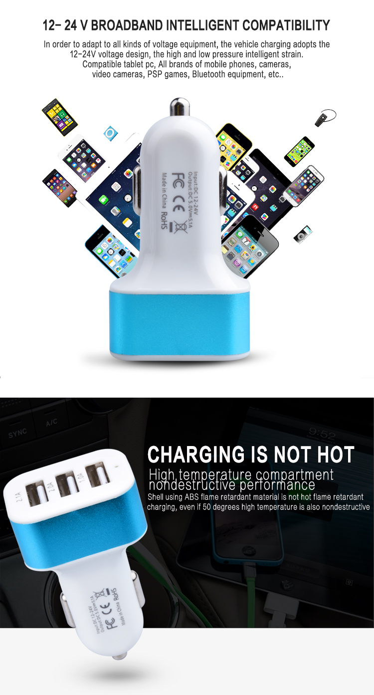 5v31a 3 Port Usb Car Charger With Smart Ic Chipsafety In 1 Psp Chip Safety