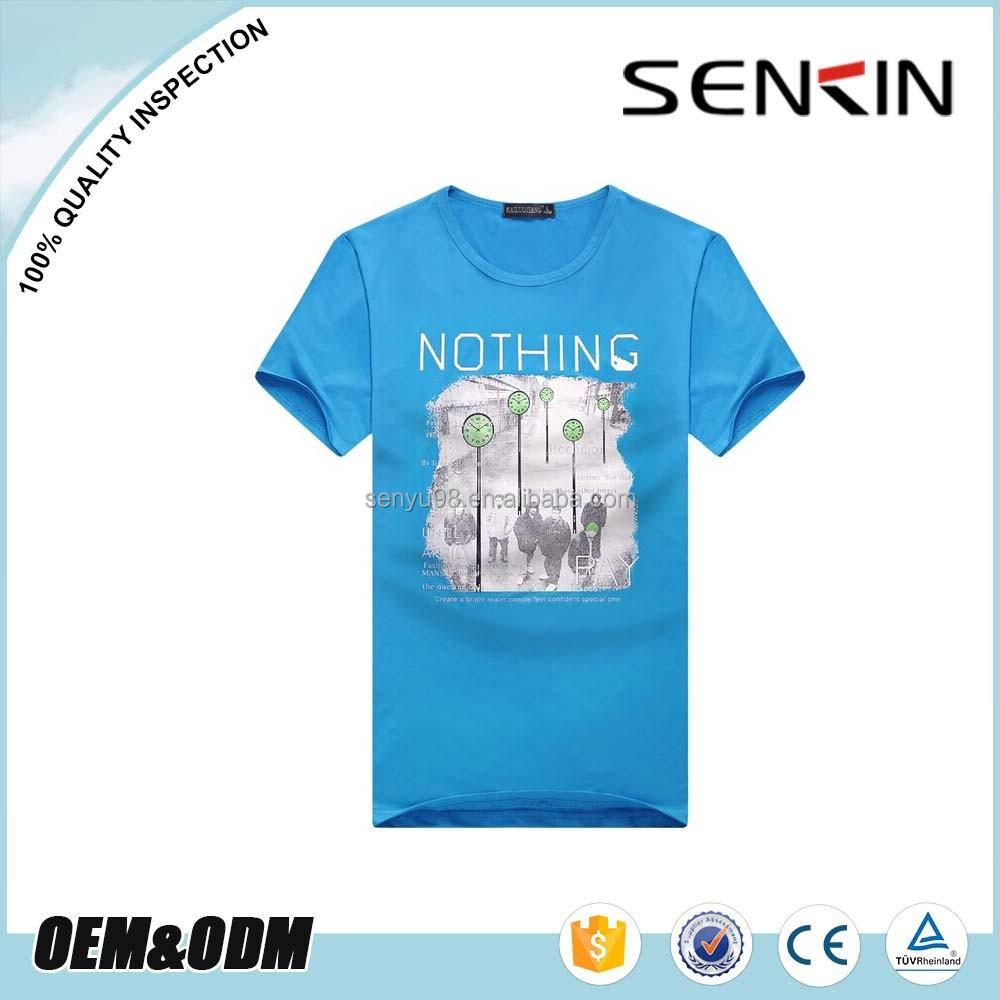 2015 Silk Screen Printed Blue T Shirt For Men Custom 100