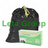 HDPE and LDPE trash bags with drawstring/draw tape