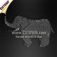 Sparkling hotfix elephant rhinestone motif