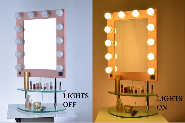 hotsale lighted hollywood makeup mirror with glass base. Black Bedroom Furniture Sets. Home Design Ideas